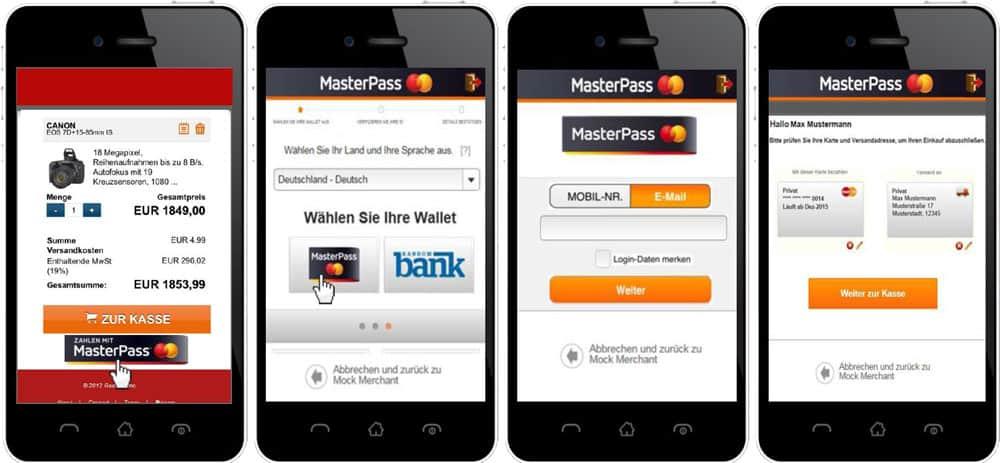 Der Bezahlvorgang startet bei allen Varianten mit dem Klick auf den MasterPass Button – ob auf der mobilen Händlerseite oder in der Applikation (App) des Händlers.