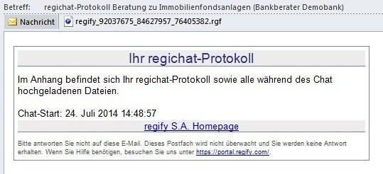 Das Chatprotokoll wird als verschlüsselte regimail an die Teilnehmer versendet. Quelle: regify