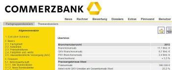 Das Fachgruppendossier soll mit Kennzahlen helfenCommerzbank