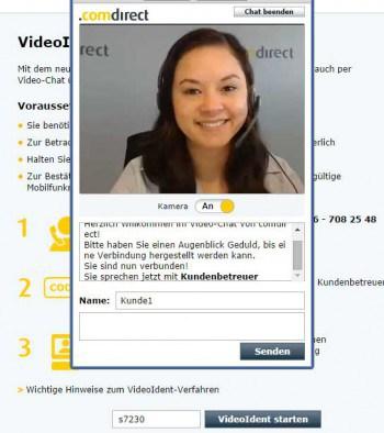VideoIdent angetestet: Siri Weigel von der comdirekt führt den Kunden durch die Online-Legitimation