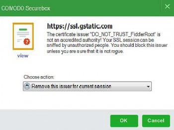 Verhält sich eine Applikation (von außen oder innen) nicht gemäß der Regeln, blockt die SecureBox jede weitere Tätigkeit.