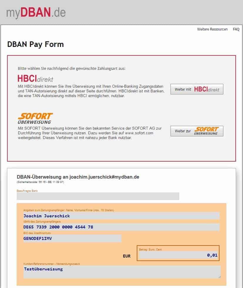 DBAN bietet als zweite Zahlungsalternative nun Sofort-Überweisung ...