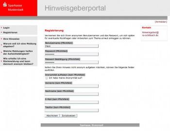 Registrierung eines anonymen Nutzers - es ist auch möglich, die Anonymität aufzuhebendenkende portale