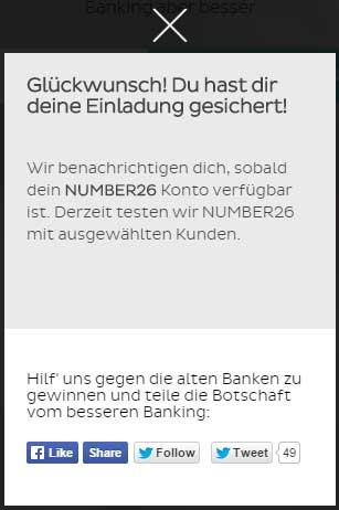 Nur mit persönlicher Einladung kann man den  Number26-Dienst sofort nutzen.