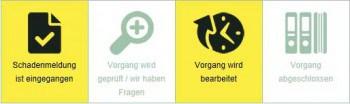 Ein vierteiliger Anzeigebalken zeigt den Bearbeitungszustand der Schadenmeldung.ARAG