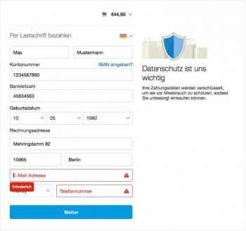 Die SEPA-Lastschrift wird direkt online initiiertPayPal
