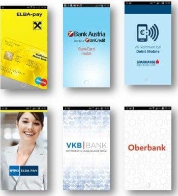 Apps der Banken für den Pilotversuch bei LinzPSA
