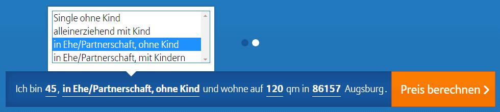 Erster Schritt im Online-Konfigurator der Allianz.
