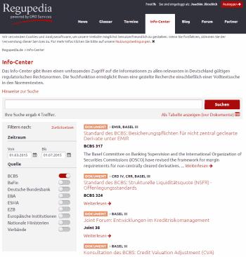 Die Suche im Info-Center kann nach Zeit, Quellen und Stichworten präzise die notwendigen Dokumente herausfilternRegupedia.de