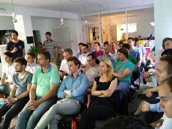 Trotz tropischer Temperaturen folgten 50 FinTech-Gründer den Vorträgen - die nächste Runde startet am 16. Septemberfintechffm.de