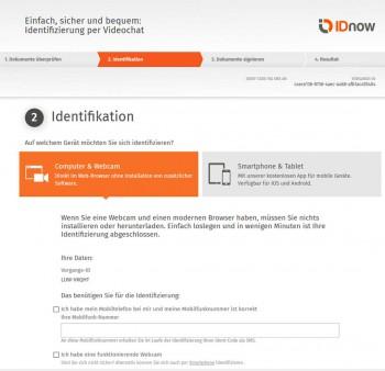 Der Einstieg in den Identifikations-ProzessIDnow