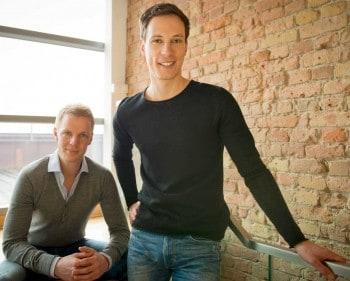 Die Mitgründer Funding Circle Kontinentaleuropa Matthias Knecht (re.) und Christian Grobe (li.) mit dem Funding Circle Gründer Samir Desai. Funding Circle