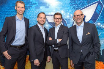Das Team der Berliner Volksbank Ventures um die Geschäftsführer Timo Fleig (2.v.l.) und Andreas Laule (rechts). Berliner Volksbank Ventures