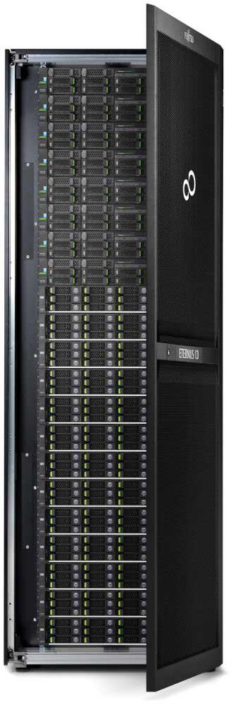 Die hoch skalierbaren Speichersysteme (hier das Fujitsu ETERNUS CD10000 S2) sind für Datenmengen von bis zu 50 Petabyte ausgelegt.Bild: Fujitsu