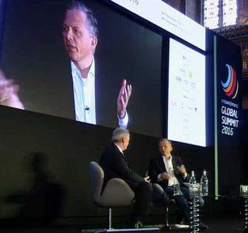 Im Gespräch: Matthias Kröner, CEO der fidor Bank und Chris Skinner, auf dem Innovate Finance Global SummitInnovate Finance Global Summit