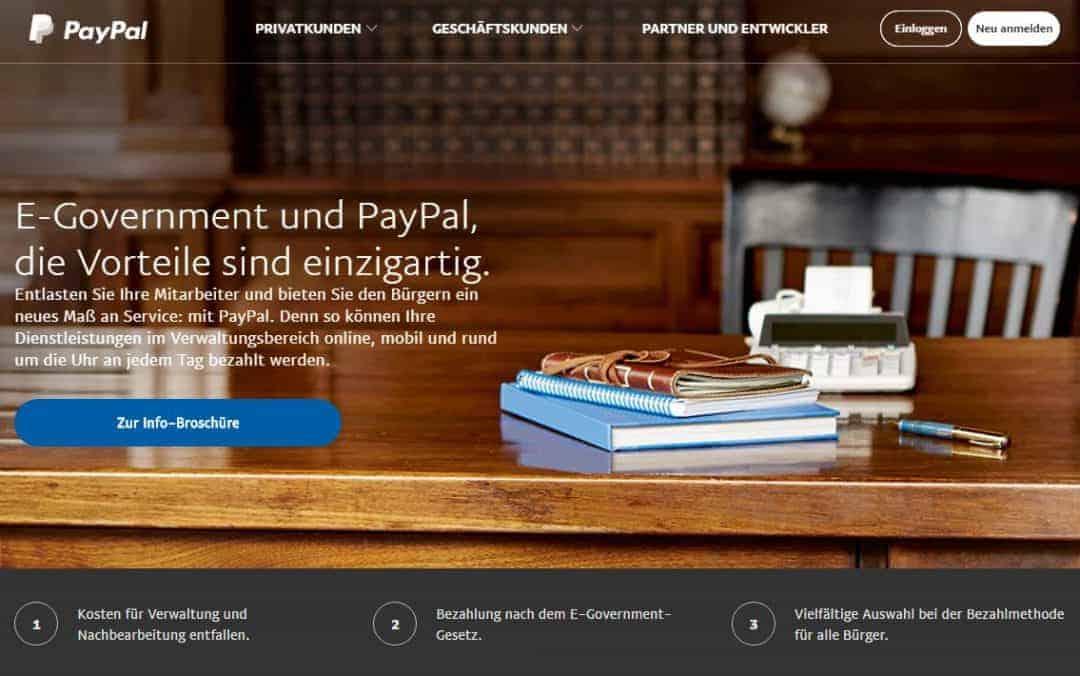 PayPal versucht seit 2014 verstärkt auch die Kommunen für sein Payment zu gewinnenPayPal