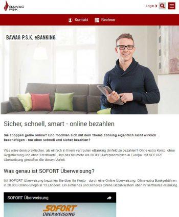 Viele österreichische Banken setzen beim Online-Payment auf FinTechs wie die SofortBawag P.S.K.