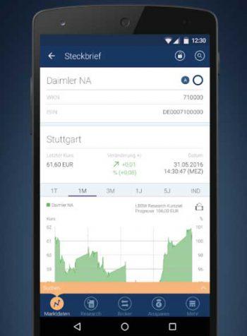 Mobile Depotführung per AssetGo-AppGoogle/BW-Bank