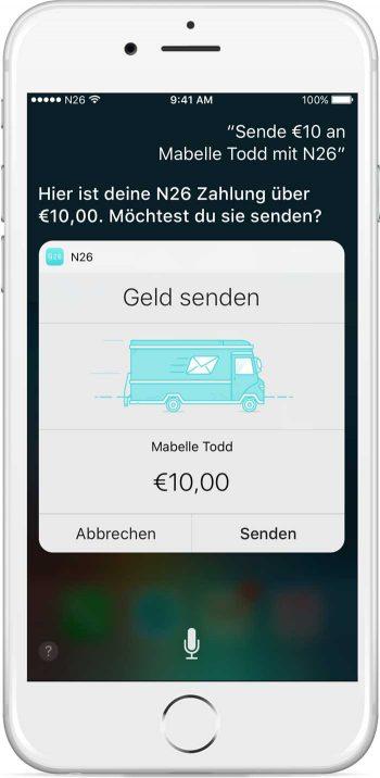 Geld senden per Siri-SprachsteuerungN26