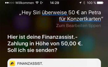 Ebenfalls schon per Siri-Sprachanweisung unterwegs<q>Postbank</q>