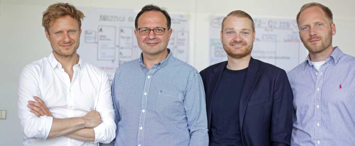 Die Bonify-Gründer: Gamal Moukabary (Regis24), Andreas Bermig (zuletzt VP Sports bei zalando), Josef Korte (zuletzt Engagement Manager bei McKinsey) und Jan Ortmann (Mondula)bonify