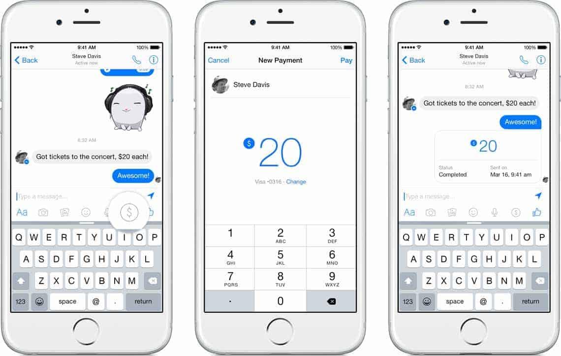 Facebook Messenger mit P2P-FunktionFacebook