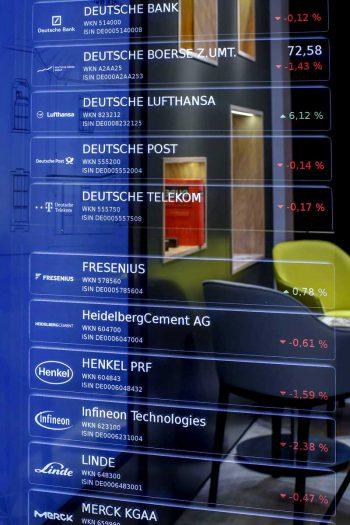 Aktienkurse im SpiegeldisplayServiceplan
