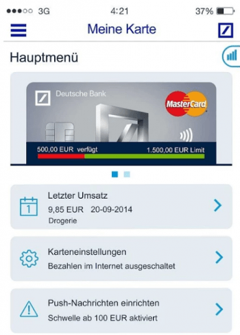 Debit Karte Deutsche Bank