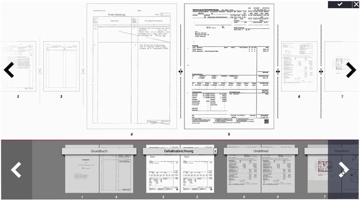 Screenshot des Document Master, der die nachträgliche Bearbeitung und Einstufung von Dokumenten erlaubt, die aus dem faScan kommen.<Pro-Direct-Finance