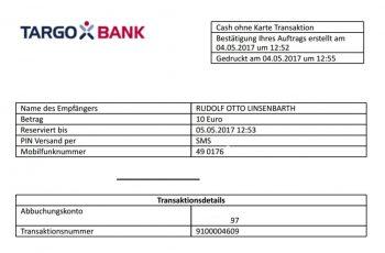 So bestätigt die Targobank den Betrag .<q>Linsenbarth