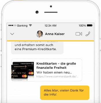 Neue Banking-App der Comemrzbank liefert auch Chat und Videochat.