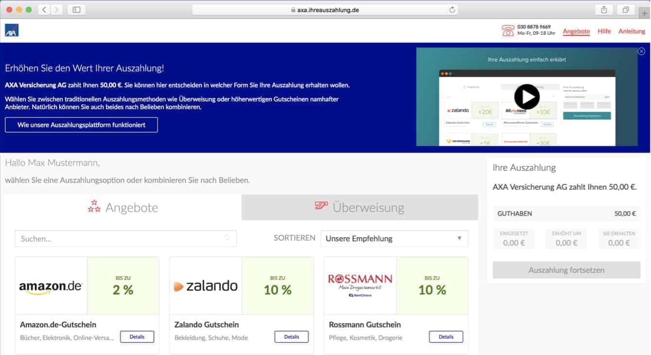 AXA-Auszahlungsportal mit OptioPay