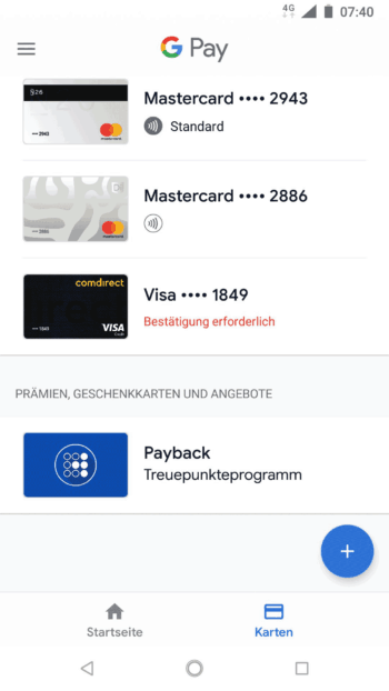 Die Karten in der Google Pay-Wallet