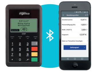Das Ingenico iCMP ist ein besonders kompaktes mobiles Bezahlterminal mit Bluetooth-Koppelung