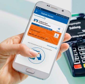 Noch geht kontaktloses Bezahlen der Volks- und Raiffeisenbanken nur mit Android. Quelle: Volksbank Mittelhessen</q>