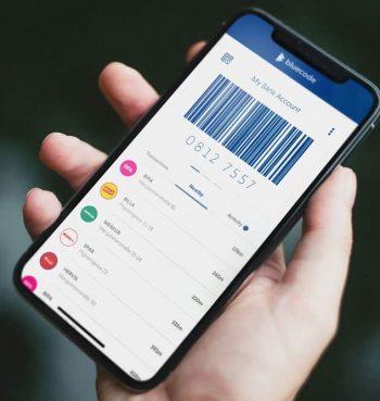 Bluecode auf einem Apple-Smartphone