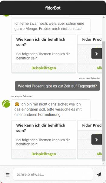 Fidor-Chatbot mit Verständnisproblemen