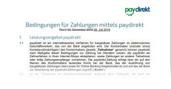 Paydirekt-Kunden haben die neuen AGB bereits erhalten.<q>Paydirekt