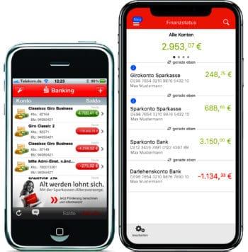 Im Vergleich: Die Sparkassen-App von 2010 (l.) und von heute (r.); Quelle: Star Finanz