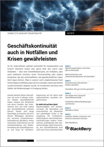 Whitepaper: Geschäftskontinuität in Notfällen sicherstellen