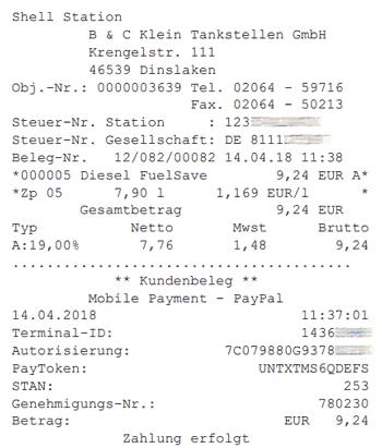 Rechnung zum Shell Smartpay-Kauf per PDF
