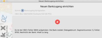 Die Kommunikation von Banking-Software über die HBCI-Schnittstelle machte nach der Postbank-Umstellung ebenfalls Probleme.