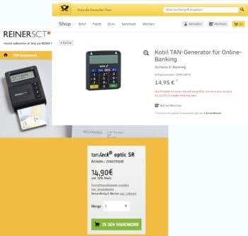 Postbank Online Banking: Drei bis sechs Wochen Wartezeit bis zum Versand müssen Postbank-Kunden für TAN-Generatoren bei den Vertriebspartnern ihrer Bank derzeit einplanen. <q>ReinersSCT.de/deutschepost.de