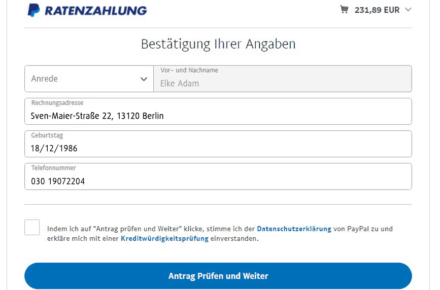 Ratenzahlung / Ratenkredit via Paypal
