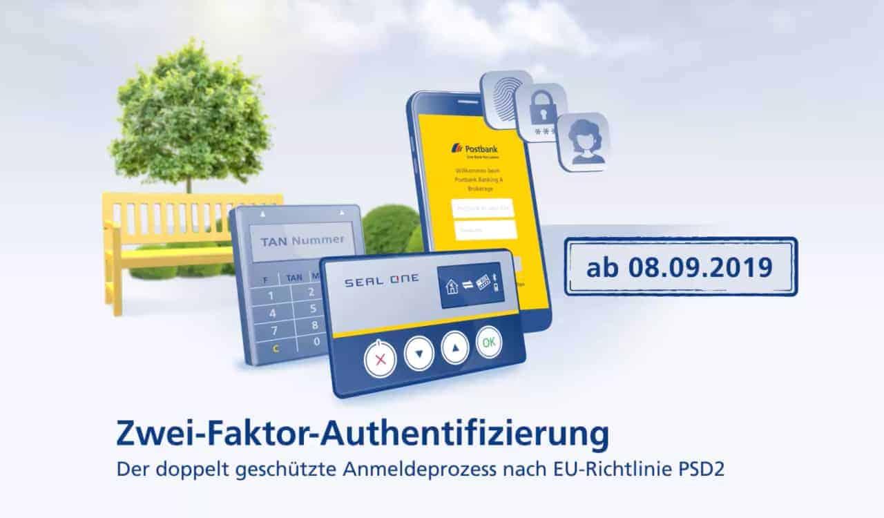 Postbank Online Banking: Die Postbank preschte vor und stellte bereits vergangenen Sonntag auf starke Authentifizierung um.
