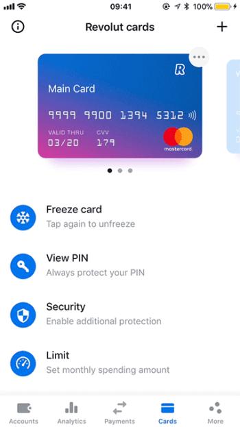 """Im Notfall, etwa bei einem Phishing-Raubzug, lässt sich die Karte aus der App heraus schnell """"einfrieren"""". <q>Revolut"""