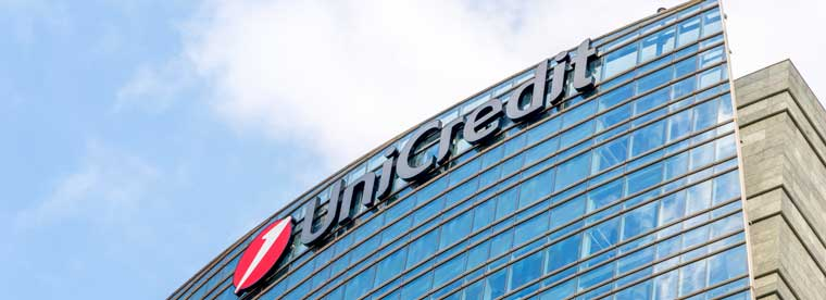Milan, Italy - May 29, 2018: UniCredit sign at UniCredit tower in Milan.