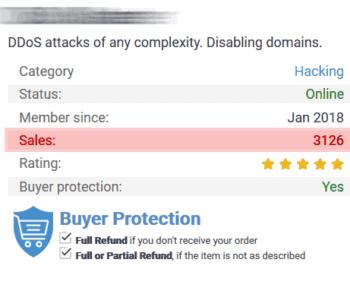Erpressung per DDoS ist ein kriminelles Angebot, dass nahezu jeder im Deep-Web bestellen kann. In diesem 'Shop' wurde es schon über 3.100mal verkauft - mit 'Käuferschutz' ...
