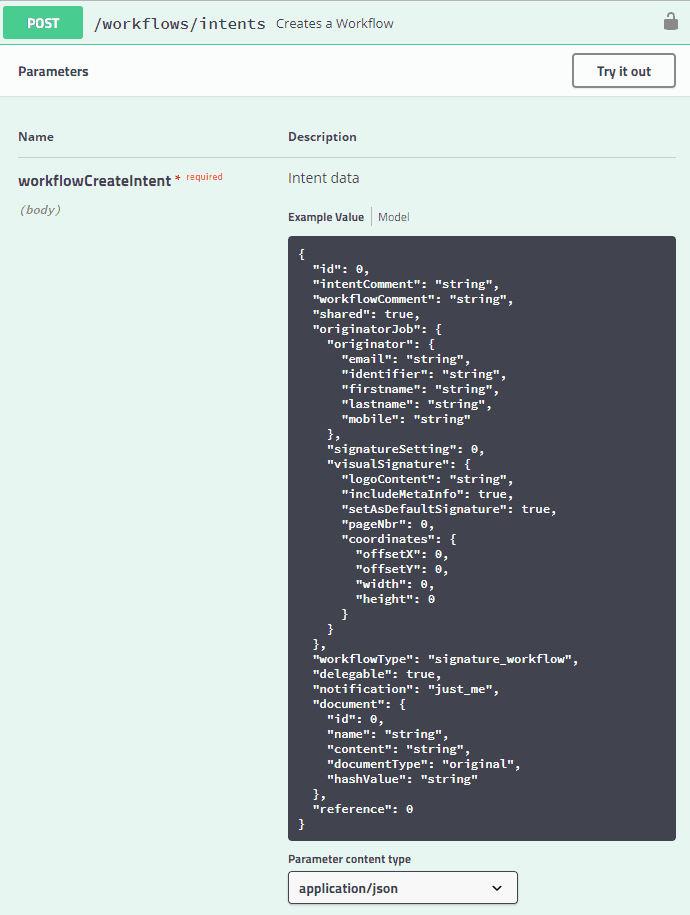 Signatur Abbildung 8: Dokumentation des Create-Workflow-Endpunkts<q>FP Sign