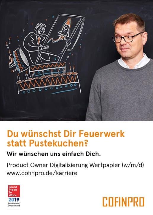 Stellenanzeige: Product Owner Digitalisierung Wertpapier bei Cofinpro